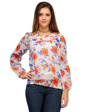 Buy Sportelle Usa India Georgette Printed Top online