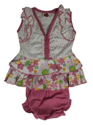 Buy Frock - Pink & White Frock With Panty 0-3 Months Size - 's' online