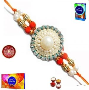 Buy Elegant Pearl And Stone Rakhi With Chocolates - ( Product Code - Jss250 ) online