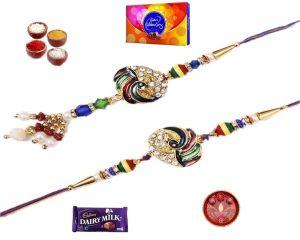 Buy Rakhi Online-colourful Pearl & Stone Peacock Bhaiya Bhabhi Rakhi Set (product Code - Mo18001bb) online