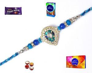 Buy Rakhi Gifts-exclusive Blue & Silver Stone Rakhi (product Code - Mo18014) online