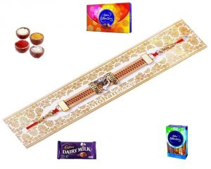 Buy Auspicious Gift Hamper Of Golden Bracelet Rakhi (product Code - Mo20001) online