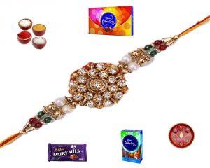 Buy Stunning Stones & Colorful Beads Rakhi (product Code - Mo8606) online