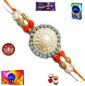 Buy Elegant Pearl And Stone Rakhi With Chocolates (product Code - Sa111) online