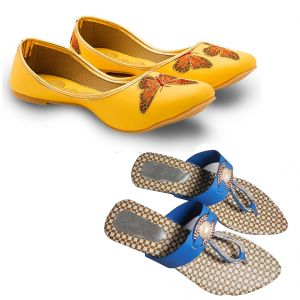 Buy Great Art Men-Women New Design Party Wear Rajasthani Mojari Fancy Sandals Combo online