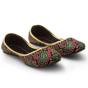 Buy Women Fancy Zari Paisley Design Ballerina Sandals 311 online