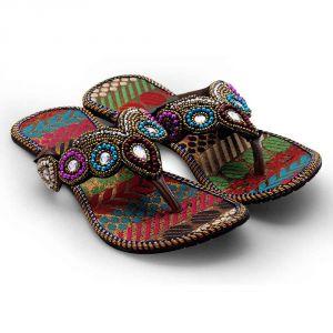 Buy Women Rajasthani Multi Color V-shape Flat Chappal 331 online