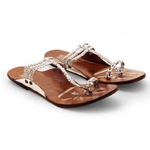 Buy Women Lightweight Stylish Silver Kolhapuri Chappal 333 online