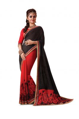 Buy Ridham Fashions Multi Colour Georgette Sarees (product Code - 6844) online