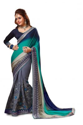 Buy Ridham Fashions Multi Colour Georgette Sarees (product Code - 6850) online