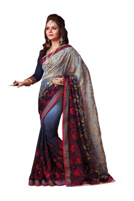 Buy Ridham Fashions Multi Colour Georgette Sarees (product Code - 6855) online