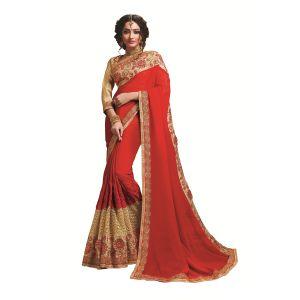 Buy Ridham Fashions Multi Color Georgette Designer Saree 8474a online