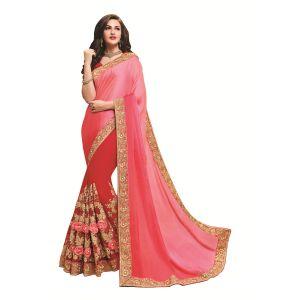 Buy Ridham Fashions Multi Color Georgette Designer Saree 8551a online