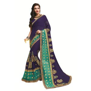 Buy Ridham Fashions Multi Color Georgette Designer Saree 8553a online