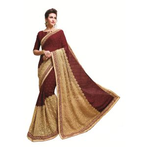 Buy Ridham Fashions Multi Color Georgette Designer Saree 8557a online