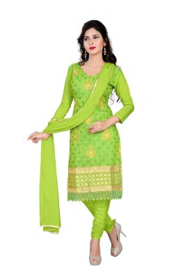Buy Shree Vardhman Parrot Green Chanderi Unstitched Straight Salwar Suit Dress Material online