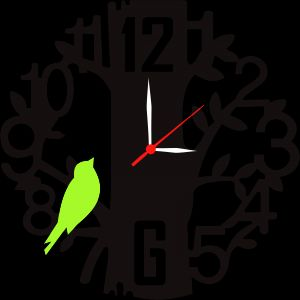 Buy Enamel Designer Black Wall Clock - Green Tree online