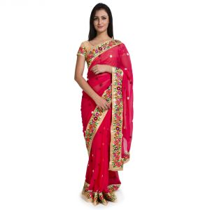 Buy Style Amaze Presents Georgette Pink Color Embroidered Saree-sasunday-1248 online