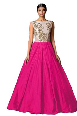 Buy Style Amaze Bollywood Designer Silk Rani Pink Color Party Wear Gown(sasunday-1015r) online