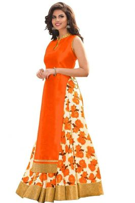 Buy Style Amaze Orange Bhagalpuri Indian Pakistani Printed Lehanga Choli(sasunday-1100) online