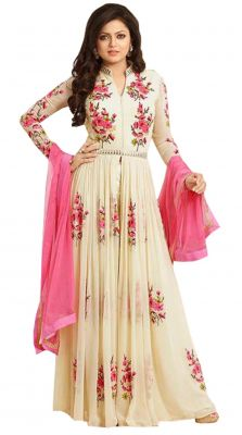 Buy Style Amaze Georgette Cream Embroidered Anarkali Salwar Suit(sasunday-1193) online