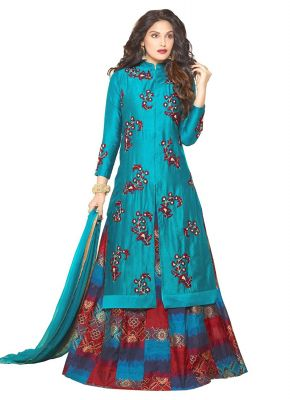 Buy Style Amaze Presents Blue Color Banglori Silk Lehanga Choli-sasunday-1276 online