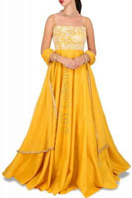 Buy Style Amaze Good Looking Embroidered Yellow Color Banglori Silk Suit online
