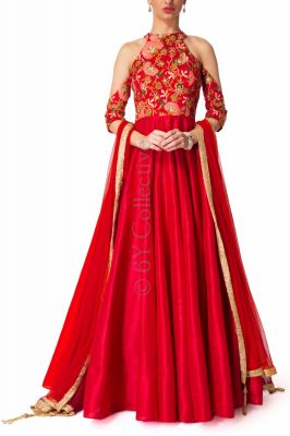 Buy Style Amaze Embellished Red Color Banglori Silk Embroidered  Suit online