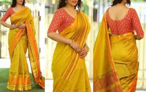 Buy Style Amaze Yellow Color Chanderi Silk Plain Saree With Embroidered Blouse online