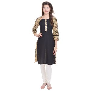 Buy Rangeelo Rajasthan Women's Jaipur Printed Straight Cotton Kurti_rar108black online
