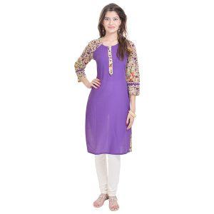 Buy Rangeelo Rajasthan Women's Jaipur Printed Straight Cotton Kurti_rar108purple online