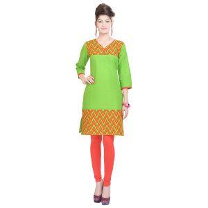 Buy Rangeelo Rajasthan Women's Jaipur Printed Straight Cotton Kurti_rar111green online