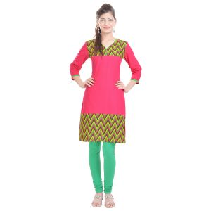 Buy Rangeelo Rajasthan Women's Jaipur Printed Straight Cotton Kurti_rar111pink online