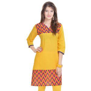 Buy Rangeelo Rajasthan Women's Jaipur Printed Straight Cotton Kurti_rar111yellow online