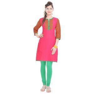 Buy Rangeelo Rajasthan Women's Jaipur Printed Straight Cotton Kurti_rar112pink online