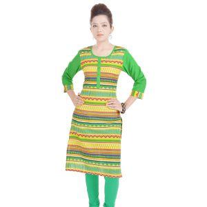 Buy Rangeelo Rajasthan Women's Jaipur Printed Straight Cotton Kurti_rar117yellow online