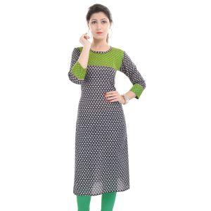 Buy Rangeelo Rajasthan Women's Jaipur Printed Straight Cotton Kurti_rar118green online