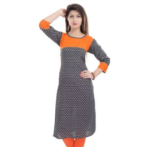 Buy Rangeelo Rajasthan Women's Jaipur Printed Straight Cotton Kurti_rar118orange online