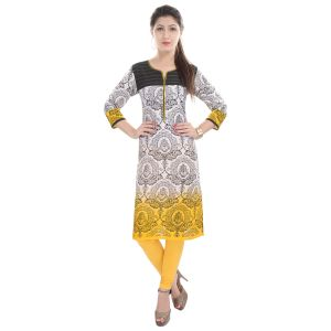 Buy Rangeelo Rajasthan Women's Jaipur Printed Straight Cotton Kurti_rar120yellow online