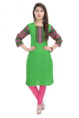 Buy Rangeelo Rajasthan Women's Jaipur Printed Straight Cotton Kurti_rar128green online