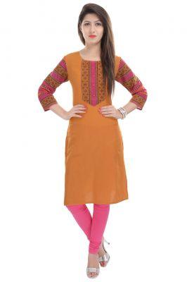 Buy Rangeelo Rajasthan Women's Jaipur Printed Straight Cotton Kurti_rar128orange online