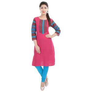 Buy Rangeelo Rajasthan Women's Jaipur Printed Straight Cotton Kurti_rar128pink online