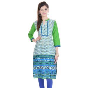 Buy Rangeelo Rajasthan Women's Jaipur Printed Straight Cotton Kurti_rar137green online