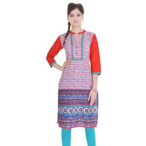 Buy Rangeelo Rajasthan Women's Jaipur Printed Straight Cotton Kurti_rar137red online