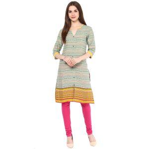 Buy Rangeelo Rajasthan Women's Jaipur Printed Straight Cotton Kurti_rar140yellow online