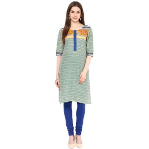 Buy Rangeelo Rajasthan Women's Jaipur Printed Straight Cotton Kurti_rar141blue online