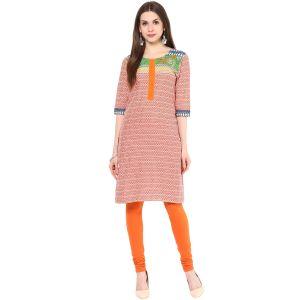 Buy Rangeelo Rajasthan Women's Jaipur Printed Straight Cotton Kurti_rar141orange online
