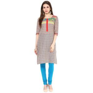 Buy Rangeelo Rajasthan Women's Jaipur Printed Straight Cotton Kurti_rar141red online