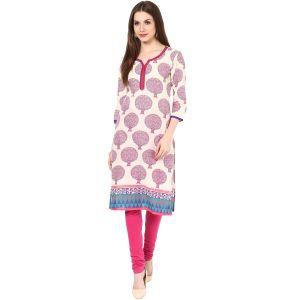Buy Rangeelo Rajasthan Women's Jaipur Printed Straight Cotton Kurti_rar142purple online