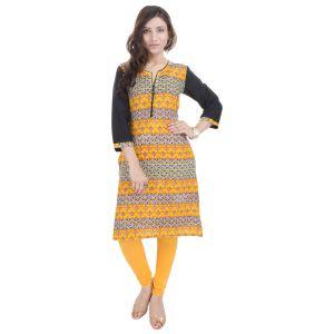 Buy Rangeelo Rajasthan Women's Jaipur Printed Straight Cotton Kurti_rar144yellow online